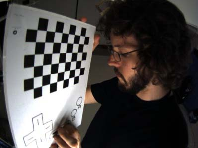 Distortion: Me with a checkerboard as the SMALLab team tries to fix the distortion on the fisheye lenses.
