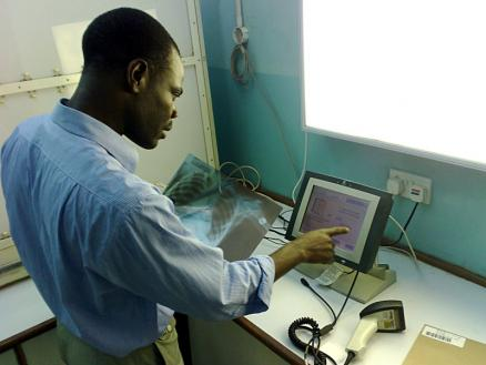 Rashid Demonstrates the X-Ray Process: One of the best-loved features of the Baobab system is its use with tracking and reporting on x-rays.