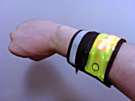 LED Wrist Band: A wearable LED wrist band that glows or blinks red, based on button presses.  A decent stand-in for a wearable computing device,